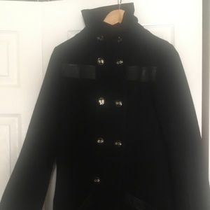 Mackage Wool Pea Coat pleated back & leather trim